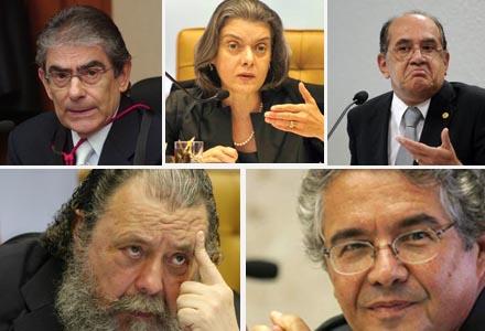 Ministros do STF Carlos Ayres Brito, Carmem Lúcia, Gilmar Mendes, Eros Grau e Marco Aurélio Mello