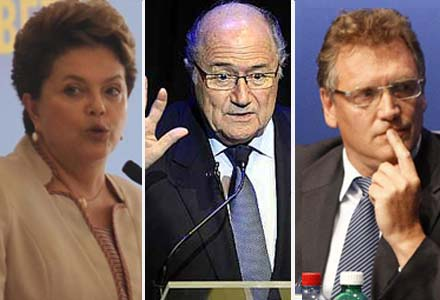 Dilma Rousseff; Joseph Blatter e  Jerome Valcke