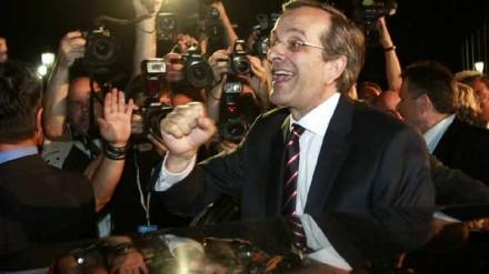 Antonis Samaras do partido Nova Democracia declarou vitoria nas eleições gregas
