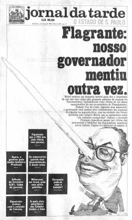 Numa série de reportagens sobre o escândalo da Paulipetro, o JT mostrava as mentiras do então governador Paulo Maluf; a cada nova mentira descoberta pela apuração, o nariz do político aumentava