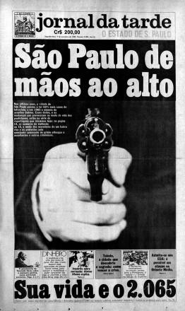 Violência: a capa do dia 7 de novembro de 1983 destacava o expressivo aumento de latrocínios na cidade