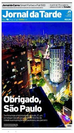A capa derradeira: na edição de 31 de outubro de 2012, o diário agradecia à fidelidade do leitor e se despedia das bancas (Foto: Reprodução)