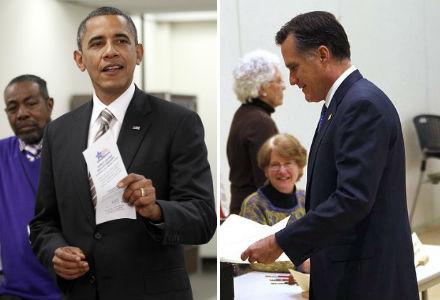 Barack Obama votou, nesta manhã, no centro comunitário Martin Luther King, em Chicago, e Mitt Romney em Belmont, na cidade de Massachusetts