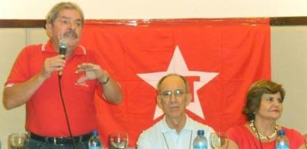 Lula, Rui Falcão e Ana Júlia, em reunião do Diretório Nacional do PT, que lançou em documento marco regulatório de comunicação, em parceria com a CUT (Foto: Carlos Madeiro)