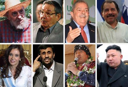 "Em ordem de idade: Fidel Castro, Raúl Castro, Lula, Daniel ""Estuprador"" Ortega, Cristina Kirchner, Mahmoud Ahmadinejad, Evo Morales, Kim Jong-un"