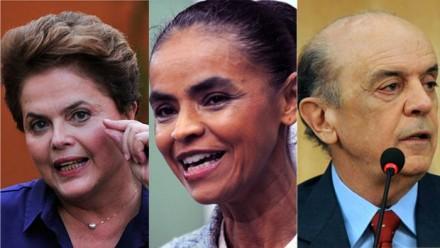 Dilma Rousseff, Marina Silva e José Serra (Montagem: Alfa)