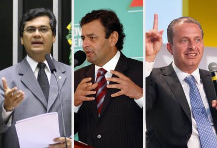 Flávio Dino, presidente da Embratur; Aécio Neves, PSDB; e Eduardo Campos, PSB (Fotos: Ag. Câmara :: Ag. Estado :: Fernando Conrado)