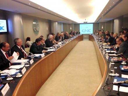 Reunião da em geral moderada Confederação Nacional do Comércio: subindo o tom para criticar a política econômica do governo (Foto: CNC)
