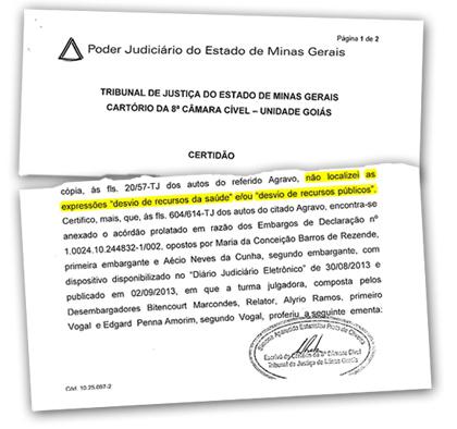 Certidão emitida pelo Tribunal de Justiça de Minas Gerais que afirma que as acusações não existem nos autos