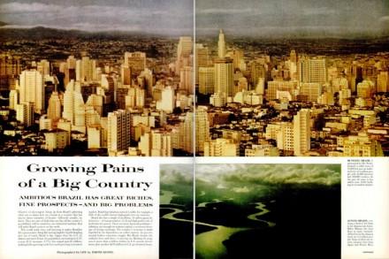 """A página dupla de abertura da matéria da """"Life"""", com imagens de São Paulo e Rio de Janeiro"""