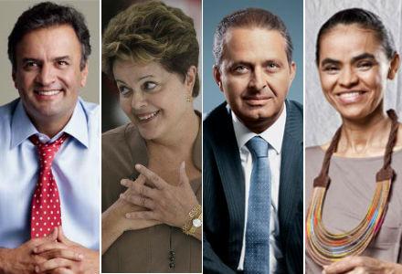 Em ordem alfabética, os candidatos a presidente Aécio Neves (PSDB), Dilma Rousseff (PT), Eduardo Campos (PSB) e Marina Silva, vice de Campos (Fotos: J. R. Duran :: Ueslei Marcelino :: Lia Lubambo :: Exame)