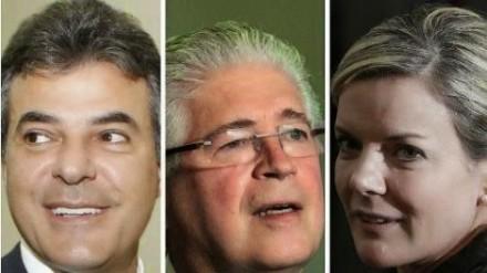 Richa (PSDB), Requião (PMDB) e Gleiti (PT): pesquisas já dão o ex-governador pemedebista empatado com o governador tucano (Fotos: Blog da Joice)