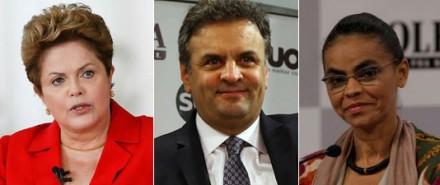 Dilma (PT, Aécio (PSDB) e Marina (PSB): quais os dois que estarão no segundo turno? (Fotos: Folhapress)