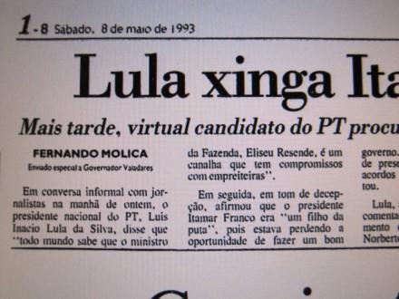 Detalhe da reportagem da folha de 8 de maio de 1993
