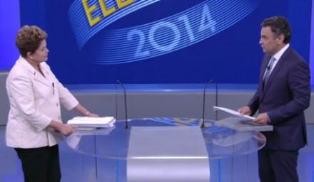 Dilma e Aécio frente a frente no debate da Globo: agora, a presidente está refugando participação em alguns debates programados (Foto: Reprodução TV Globo)