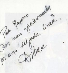 """Na dedicatória da foto, os agradecimentos pela """"delgada linea"""" (Foto: Reprodução"""