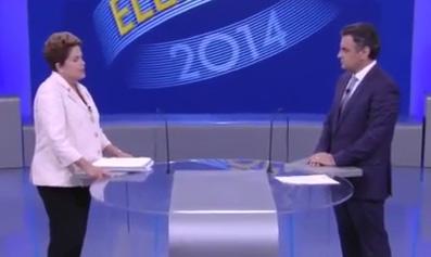 """Dilma debatendo com Aécio na Globo: confundindo de propósito """"medidas impopulares"""" com """"medidas contra o povo"""" -- que, agora, ela está adotando (Foto: Reprodução TV Globo)"""