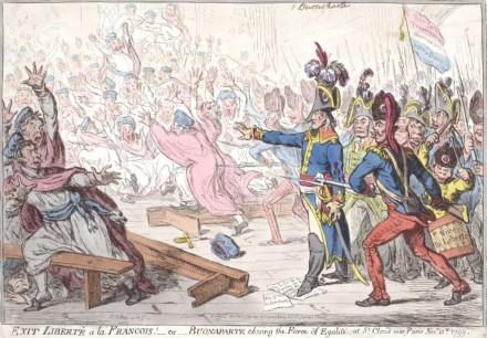 O golpe de 18 de Brumário, pelo qual Napoleão derrubou o Diretório e se tornou 1º cônsul da França. Em 5 anos, ele seria autocoroado imperador (Ilustração: James Gillray, caricaturista britânico que viveu de 1757 a 1815)