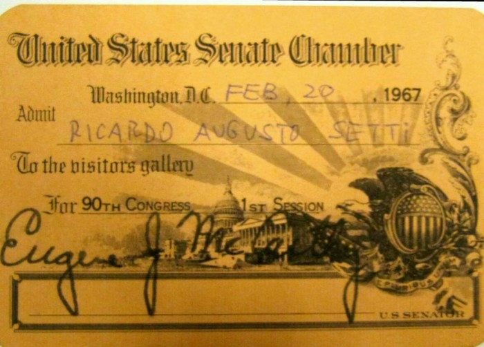 Credencial Visita Senado 67